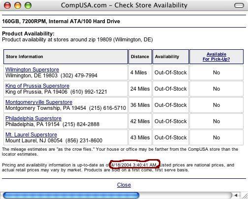 Product (un)availability