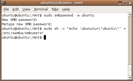 Samba credentials commands Screenshot