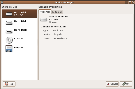 Disks Manager Disk List Screenshot