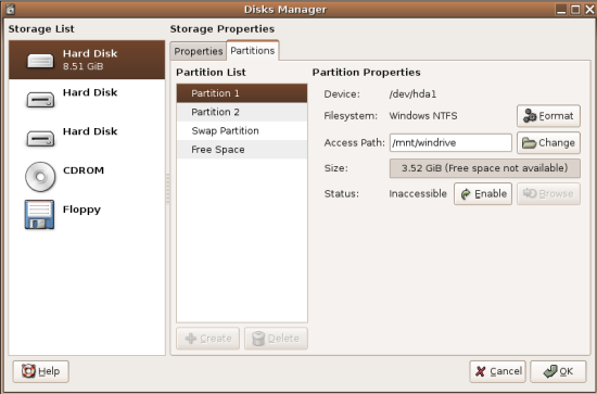 Disks Manager Partition List Screenshot