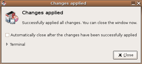 Installation Dialog - Changes Applied Screenshot